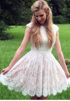 white pearl beaded lace homecoming dresses short prom #Short Homecoming Dress #HomecomingDresses #Short PromDresses #Short CocktailDresses #HomecomingDresses