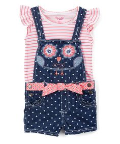 Take a look at this Pink Angel-Sleeve Top & Owl Shortalls - Infant, Toddler & Girls today!