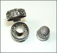 Antique Webster Pierced Sterling Thimble Case & Thimble for Chatelaine | eBay