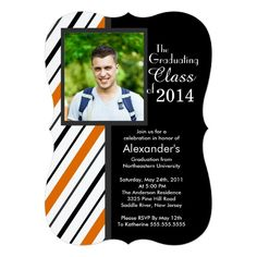 Invite guests in style with these modern orange and black stripe photo graduation party invitations. Start your graduation party event off right with our formal and classy orange and black stripe photo graduation invitation or graduation announcement.