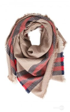 Plaid Blanket Scarf in Taupe