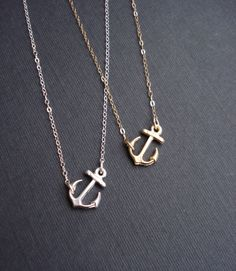 Sideways Anchor Necklace Silver Or Gold. Anchor Necklace In Sterling Silver Anchor Pendant Necklace Modern Jewelry by AnechkasJewelry on Etsy https://www.etsy.com/listing/181523853/sideways-anchor-necklace-silver-or-gold