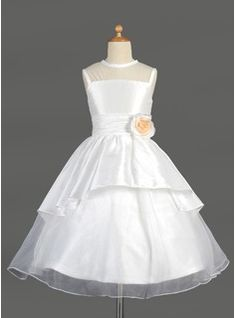 Flower Girl Dresses - $113.99 - A-Line/Princess Scoop Neck Tea-Length Taffeta Organza Flower Girl Dress With Flower(s) Cascading Ruffles  http://www.dressfirst.com/A-Line-Princess-Scoop-Neck-Tea-Length-Taffeta-Organza-Flower-Girl-Dress-With-Flower-S-Cascading-Ruffles-010014644-g14644