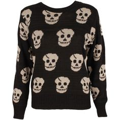 Black Knitted Skull Jumper (€18) ❤ liked on Polyvore featuring tops, sweaters, shirts, jumpers, jumper shirt, skull top, jumpers sweaters, skull print shirt and shirt tops