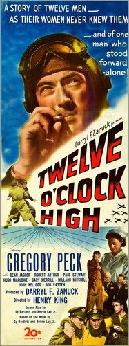 20Th Century Fox Movie Posters | Poster TWELVE O'CLOCK HIGH, Gregory Peck, insert 1949,(c) 20th Century ...