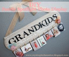 My Simple Obsession: Family Spotlight Photo Display Tutorial-great for Grandparent's Day in Sept Handmade Christmas Gifts, Homemade Christmas, Xmas Gifts, Craft Gifts, Diy Gifts, Christmas Crafts, Christmas Presents, Christmas Christmas, Christmas Ideas