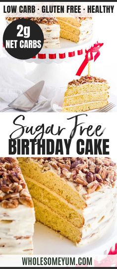 Vanilla Gluten-free Keto Birthday Cake - This gluten-free birthday cake is so rich and moist that no one will guess its also a low carb keto cake recipe. Its easy to make with just 10 ingredients. Vanilla sugar-free cake is perfect for a birthday, or any day!