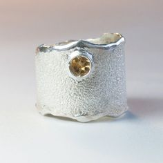 Citrine Wide Silver ring, citrine semi precious Solitaire ring textured wide ring
