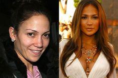 Famosas con y sin maquillaje Jennifer Lopez. A la izquierda, sin maquillaje, una mujer completamente normal.