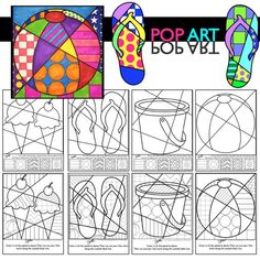 Summer coloring sheets for kids that are unique and fun. Interactive (no two are ever the same) and pattern filled designs for ice cream cones, flip flops, beach bucket and beach ball. Making art with kids this summer is easy and fun.:
