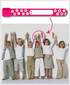 Superhandige SOS polsbandjes! In verschillende designs... leuk en onmisbaar voor je peuter/kleuter tijdens vakantie of dagje uit.