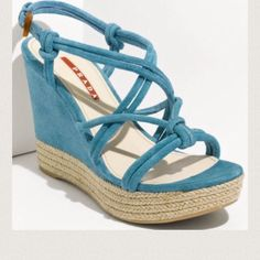 """Prada Blue Tubular Strap Wedge Sandals 40/10 NWT Prada Blue (Azzuro), Tubular Strap Wedge Sandals 40/10 NWT and box.  Heel 4"""" H with a 1"""" platform. Suede upper, suede and leather lining/rubber sole. Prada Shoes Sandals"""