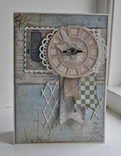 Card MFT clock - Riddersholm Design - card with clock #clock MFT Timeless stamp set MFT dienamics Time Pieces die set
