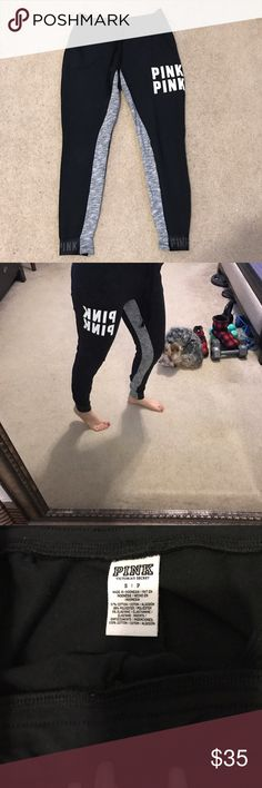 Vs Pink Collegiate Pant Size Small Gently used  No fading  Color Block  Black n Grey No cracking on logo PINK Victoria's Secret Pants Skinny