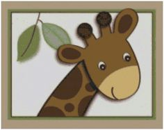 Nursery Cross Stitch Baby Safari Giraffe with Border Counted Embroidery Needlepoint Pattern in PDF Instant Download