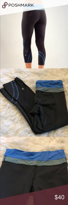 Run inspire crop II Excellent condition. Black with blue waistband. Luxtreme material lululemon athletica Pants Ankle & Cropped