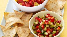 This fresh fruit salsa is perfect for summertime entertaining when lighter fare is called for. Super Spice cinnamon flavors both the salsa and the quick baked tortilla chips. Sub honey/sugar with plan approved sweetener. Dip Recipes, Summer Recipes, Mexican Food Recipes, Snack Recipes, Cooking Recipes, Recipies, Easy Recipes, Mexican Meals, Fruit Recipes