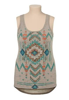 2dea86a8fe902c high-low multi color ethnic print plus size tank (original price