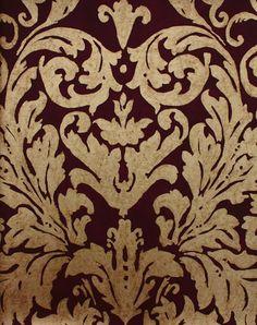 Tivoli Damask Wallpaper Gold drawn damask design wallpaper on Mulberry.