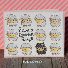 "Have a special day card using the sheep from the ""Lunar Animals"" set by Mama Elephant. You can find more pictures and a list of supplies used on my blog! Happy crafting, Maike maikreations  maikreations"