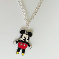 Mickey Mouse silver chain necklace cartoon disney cute charm black red jewelry  #Unbranded