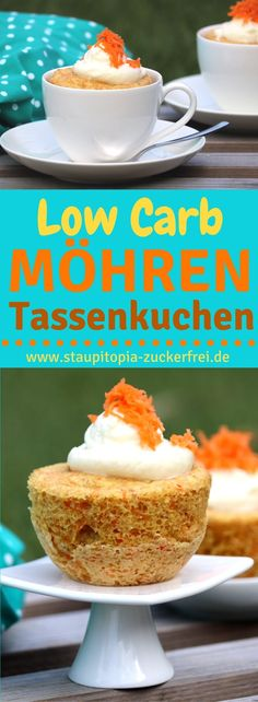 Möhren-Tassenkuchen ohne Zucker Low Carb Cupcake with carrots without sugar: super juicy and super fast Pear Recipes, Real Food Recipes, Yummy Food, Paleo Dessert, Low Carb Cupcakes, Low Carb Backen, Cold Cake, Pear Cake, Microwave Recipes