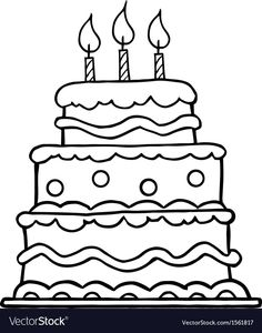 Clipart Outlined Layered Birthday Cake With Three Candles - Royalty Free Vector Illustration by Hit Toon Birthday Cake Clip Art, Cartoon Birthday Cake, Birthday Clipart, Birthday Cakes, Colouring Pages, Coloring Pages For Kids, Happy Birthday Drawings, Cake Clipart, Cutting Files