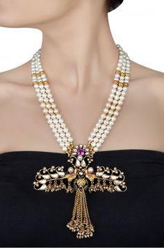 Silver Gold Plated Floral Crystal Mayura Pearl Necklace