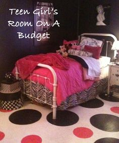Teen girls room makeover on a budget. Painted floors. www.groundbeefbudget.com