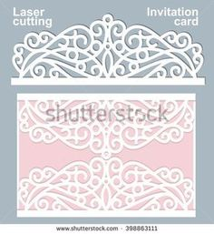 Vector die laser cut wedding card template. Wedding invitation card mockup.