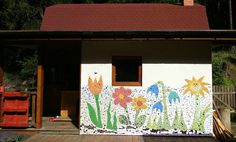 wall mosaic I made for my former home - a small cottage in the forest valley