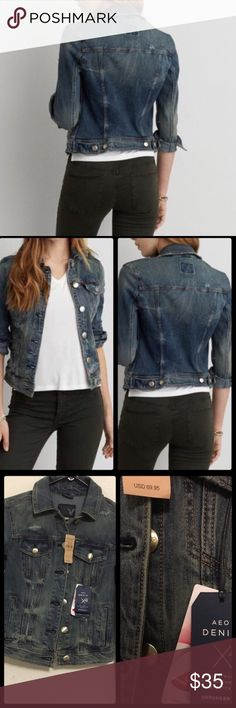 "AMERICAN EAGLE AEO DENIM JACKET ✔️American Eagle Outfitters AEO Denim X Jacket. PRODUCT DETAILS Designed in revolutionary high performance stretch that won't bag out and hugs your curves in all the right ways. 69% Cotton, 16% Viscose, 13% Polyester, 2% Elastane • Soft stretch cotton denim • Six-button front • Straight point collar • Button-flap chest patch pockets • Vertical hip welt pockets • One-button cuffs • Adjustable buttoned waist tabs • Destroyed details 17"" from shoulder to bottom…"