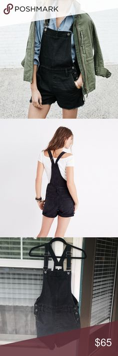 "Madewell Adirondack Short Overalls in Washed Black Cutoff black overalls, size small. The denim is a very slightly faded black. In great condition, worn only a handful of times. 100% cotton, 3"" inseam. Madewell Shorts"