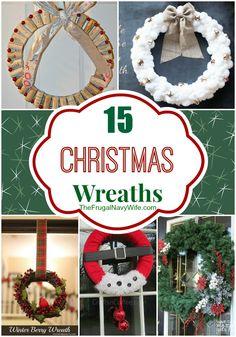 15 DIY Christmas Wreaths Round Up #christmas #christmaswreath