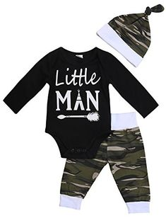 8051e683e87 3PCS Newborn Baby Boys Cute Letter Print Romper Camouflage Pants Hat  Outfits Set (12-