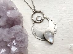 As Above, So Below- sterling silver and rainbow moonstone crescent moon pendant