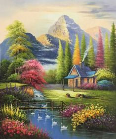 35 Ideas painting ideas oil simple for 2019 Watercolor Landscape, Landscape Art, Landscape Paintings, Watercolor Art, Scenery Paintings, Nature Paintings, Beautiful Paintings, Beautiful Landscape Wallpaper, Beautiful Landscapes