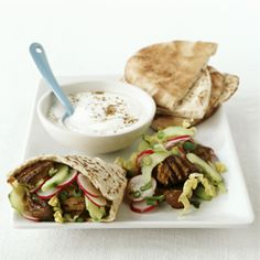 Lamb kebabs with pitta bread