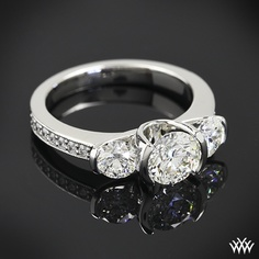 Custom 3 Stone Half Bezel Engagement Ring | 14103