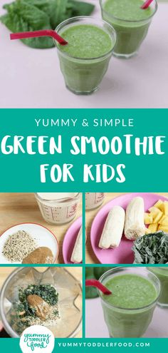 With just a few simple ingredients, you can blend up a nutrient-packed green smoothie for babies, toddlers, and kids that they'll actually like! #toddlerfood #healthybreakfast #toddlerbreakfast #greensmoothie #breakfastideas