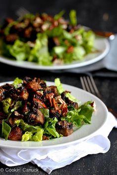 No more boring salads! Roasted Mushroom & Romaine Salad Recipe {Vegan} | cookincanuck.com #vegetarian #vegan #glutenfree