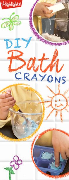 "Make a splash during bath time with these easy-to-make and mess free ""bath crayons"""