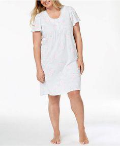cd765cc8b4b32 Miss Elaine Plus Size Printed Short Nightgown Women - Bras