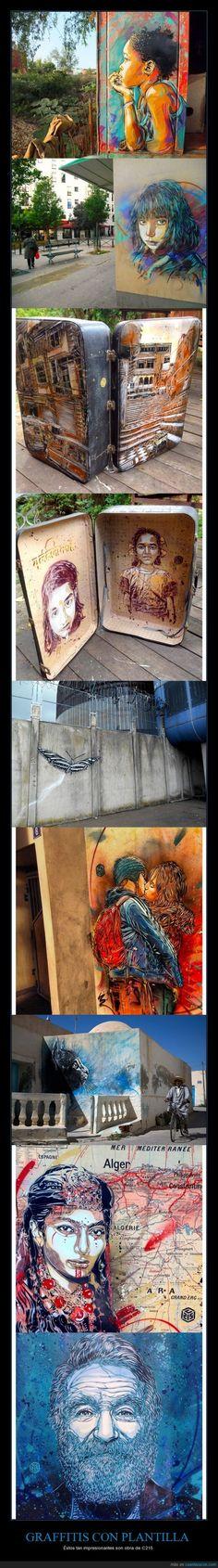 GRAFFITIS CON PLANTILLA - Éstos tan impresionantes son obra de C215