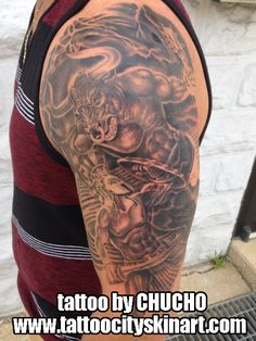 greek mythology minotaur in-progress black and grey fantasy realistic Tattoo by Chucho. Tattoo City Skin Art. Lockport, IL. www.tattoocityskinart.com