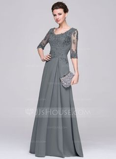 [US$ 167.49] A-Line/Princess Scoop Neck Floor-Length Chiffon Mother of the Bride Dress With Ruffle Beading Appliques Lace Sequins (008058408)