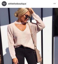 White fox boutique choker sweater