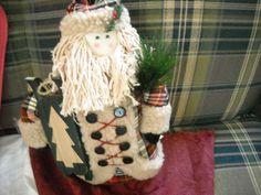 """primitive country santa claus doll decoration christmas plaid coat 13"""" decor"""