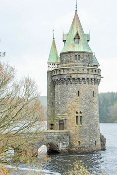 The Tower at Lake Vyrnwy, Powys, Wales. Chateau Medieval, Medieval Castle, Medieval Tower, Tower House, Castle House, Tower Castle, Ancient Architecture, Amazing Architecture, Chateau Moyen Age