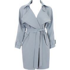 Choies Blue-gray Lapel Waisted Trench Coat With Belt (255 PLN) ❤ liked on Polyvore featuring outerwear, coats, choies, blue, belted trench coat, trench coat, belted coat, blue coat and coat with belt